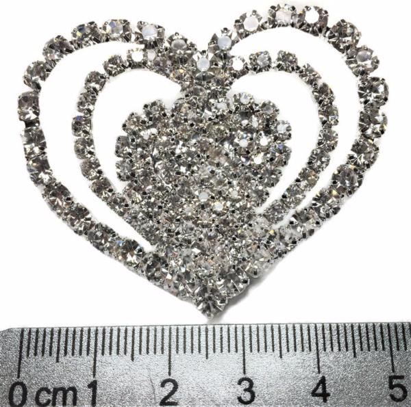One-pair Triple Heart Rhinestone Shoe Clip - Accessories for shoes