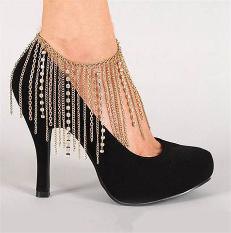 One-pair Metal Tassel Diamond Chain - Accessories for shoes