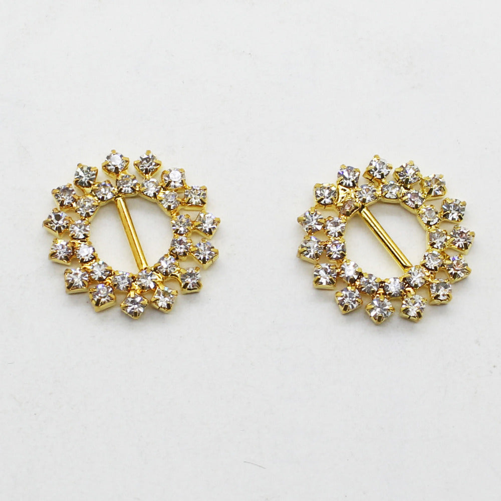 20mm Round Gold Color Rhinestone Buckle - Accessories for shoes