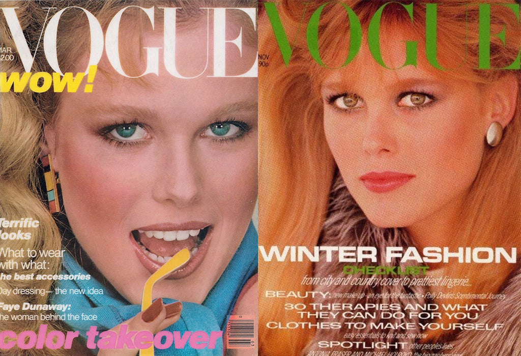 Left: American Vogue cover, photographed by Stan Malonowski // Right: British Vogue cover, photographed by Eric Boman