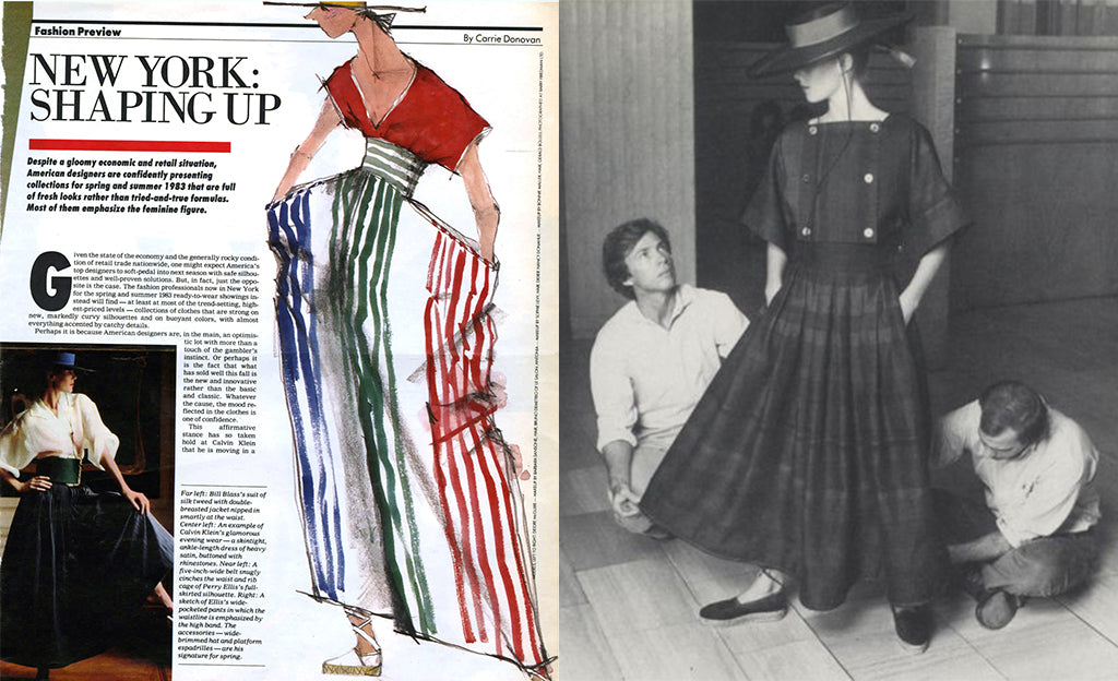 Left: Preview for Carrie Donovan at the New York Times Magazine: Nancy in Perry Ellis accompanied by Jed's gouache. // Right: Spring fitting on Nancy with Perry and Jed