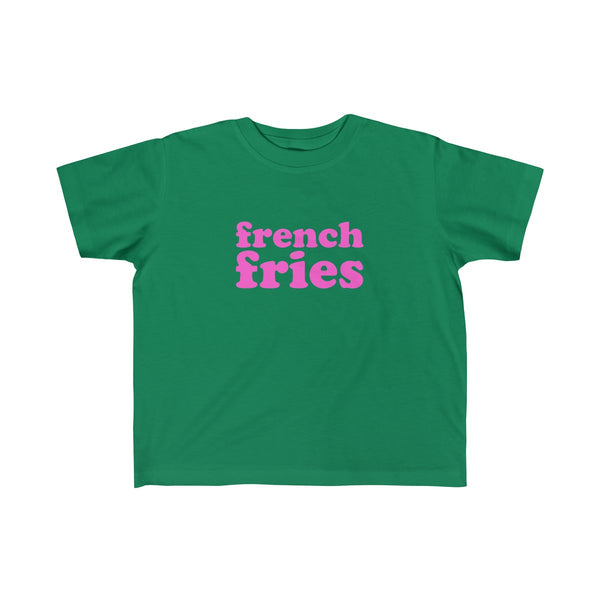 French Fries Short Sleeve T-shirt for Toddler Kids, Green, Burger Garage