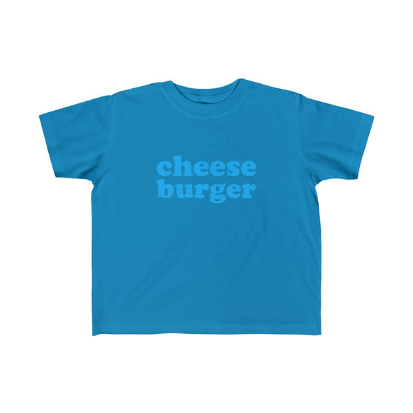 Cheese Burger Short Sleeve T-shirt for Toddler Kids, Blue