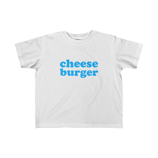 Cheese Burger Short Sleeve T-shirt for Toddler Kids, White