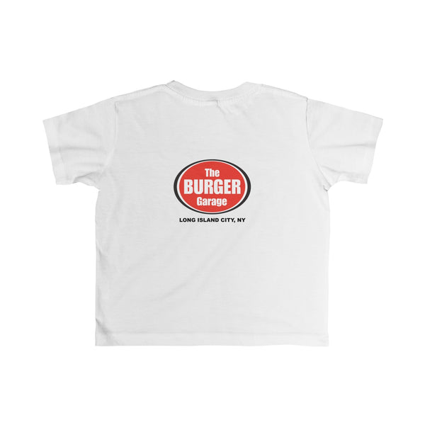 Cheese Burger Short Sleeve T-shirt for Toddler Kids, Burger Garage, White