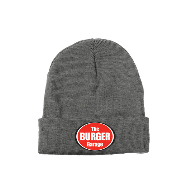 The Burger Garage Knit Beanie Hat, Grey