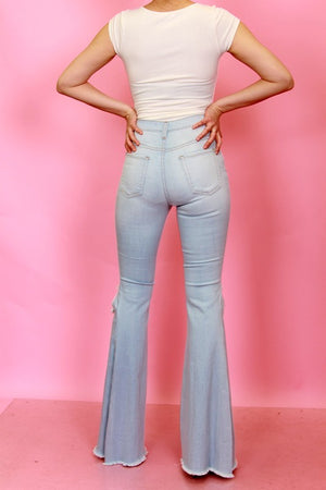 Sita High Waist Distressed Flares