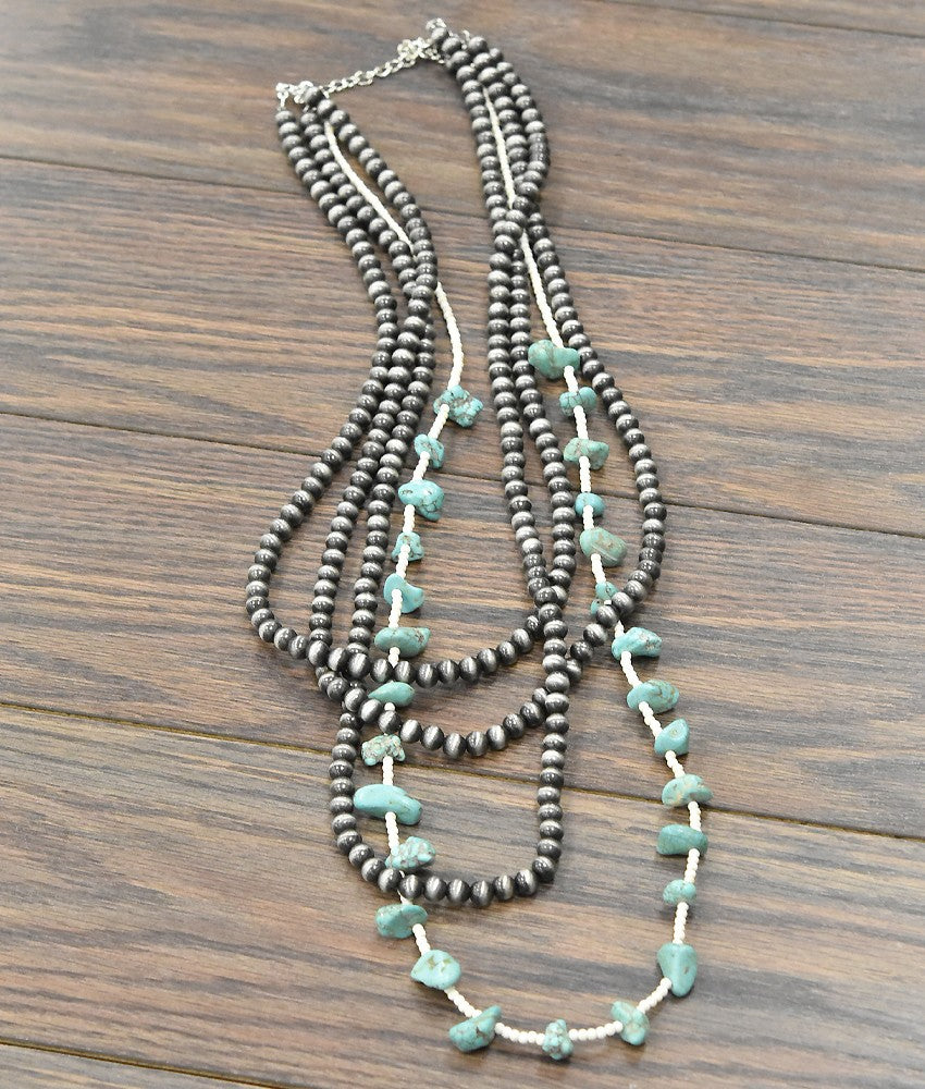 Natural Turquoise, Navajo Pearl Necklace (multi Strand)