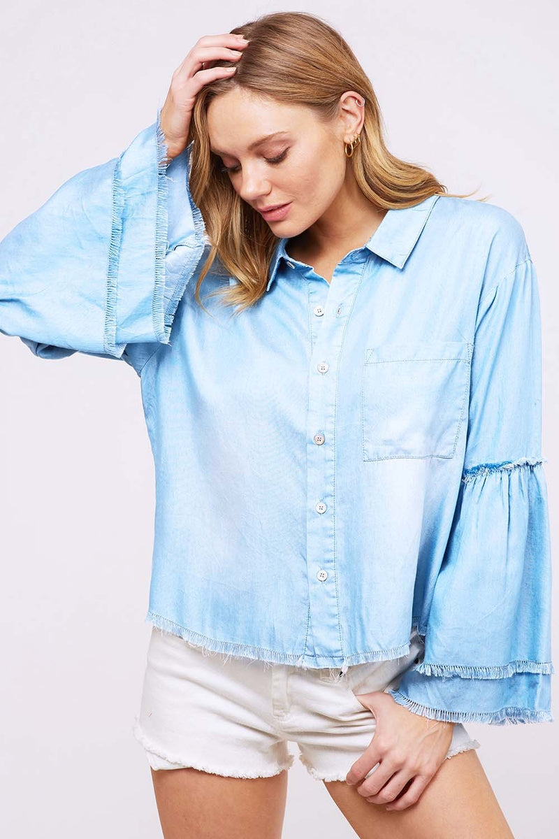 Denim bell sleeve blouse