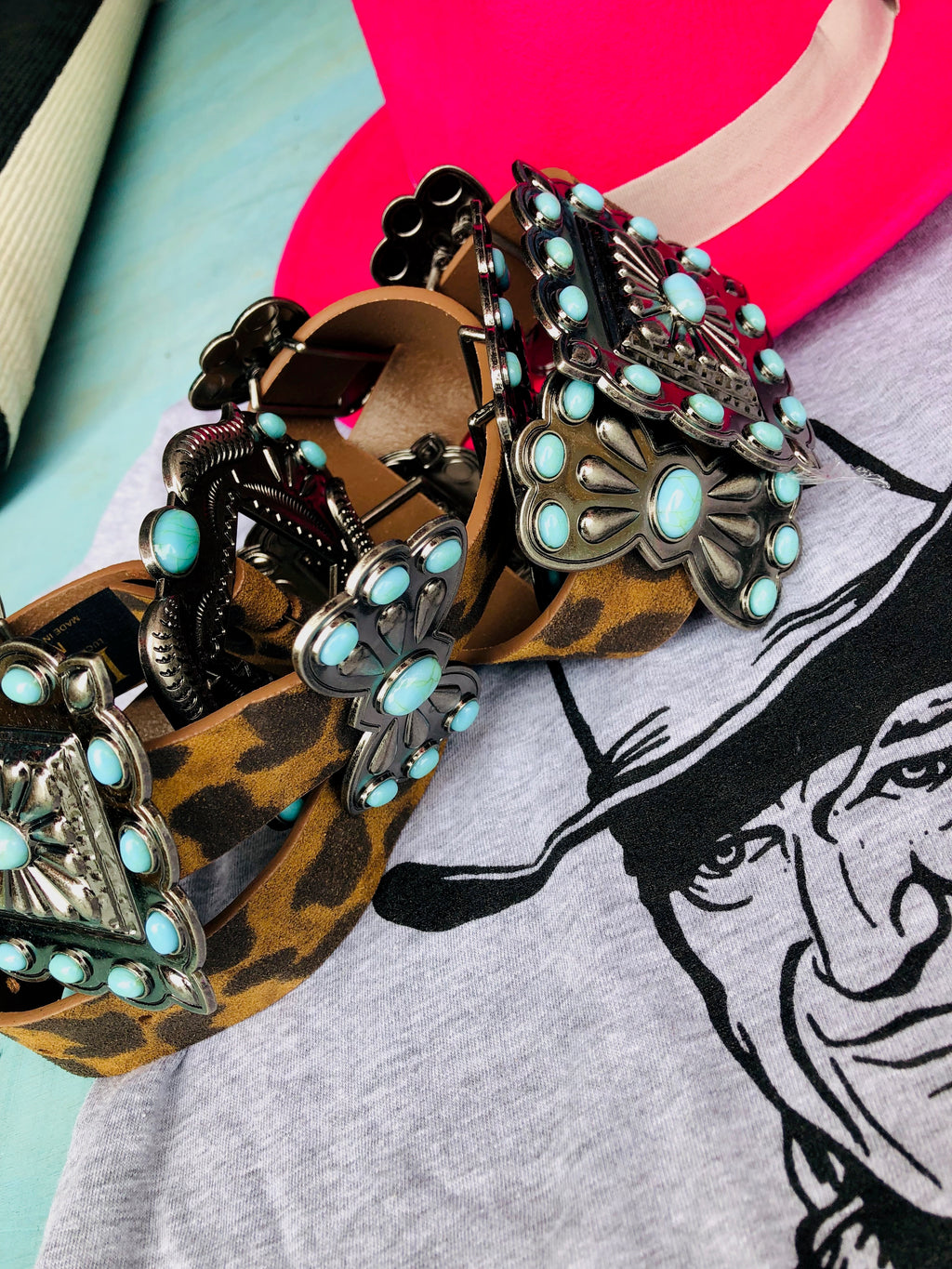 Cheetah and Turquoise Western Belt