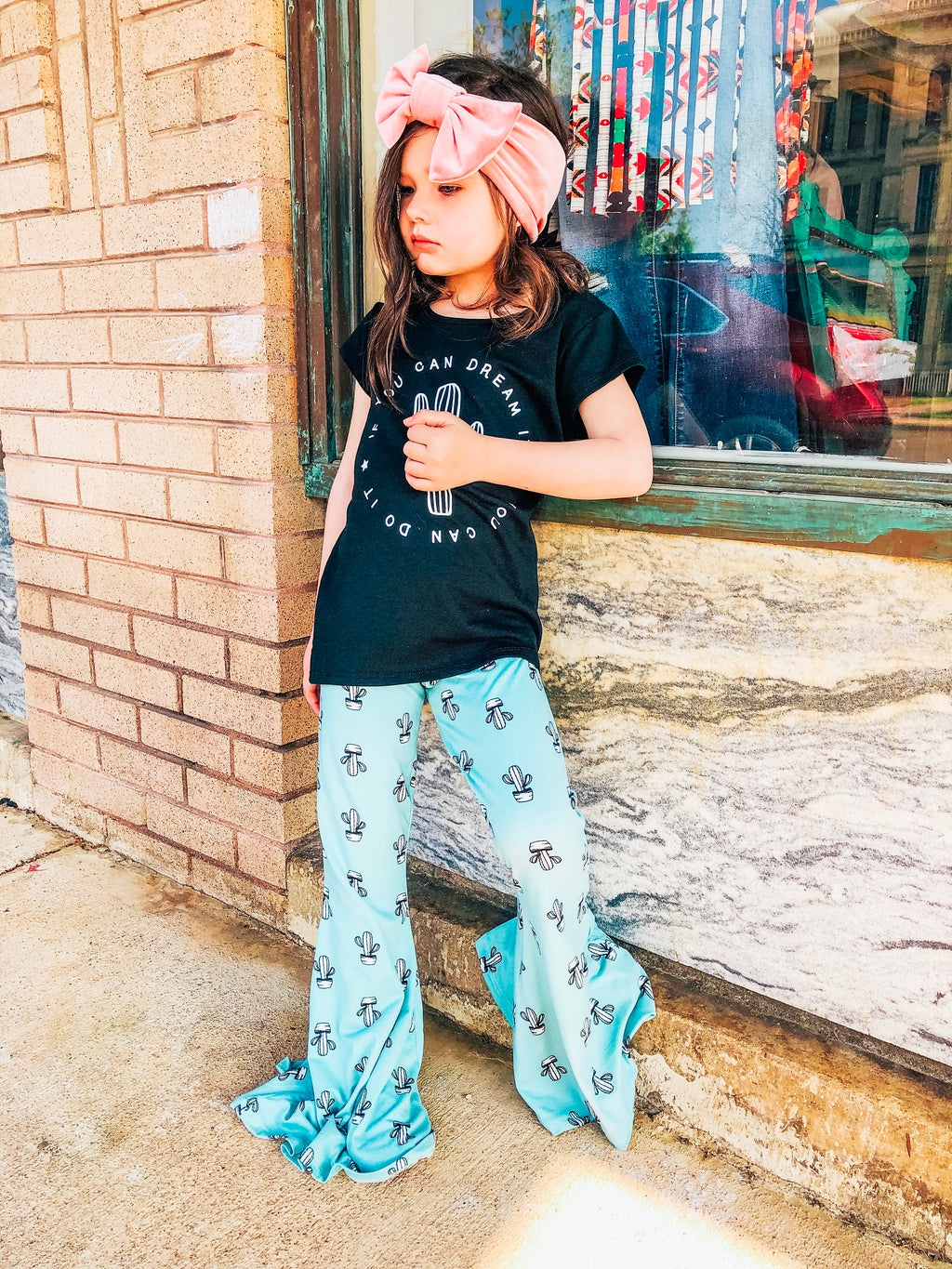 Girl's Mint Cactus Bell Bottoms