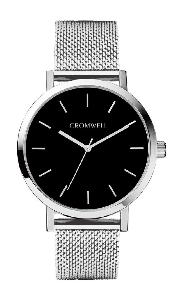 "38mm ""San Mateo"" - Silver Case with Black Face - Cromwell Watch Company"