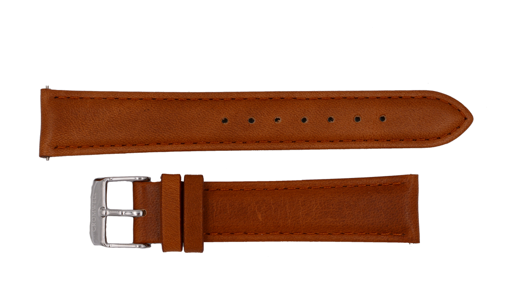 Watch Band- 18mm Luggage Brown w/silver buckle (For 36mm and 38mm watch cases) - Cromwell Watch Company