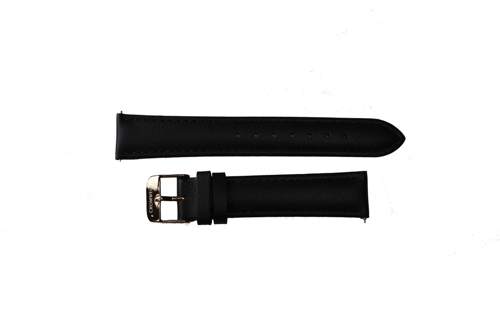 Black Watch Band w/Rose Gold Buckle 18mm (For 36mm and 38mm watch cases) - Cromwell Watch Company