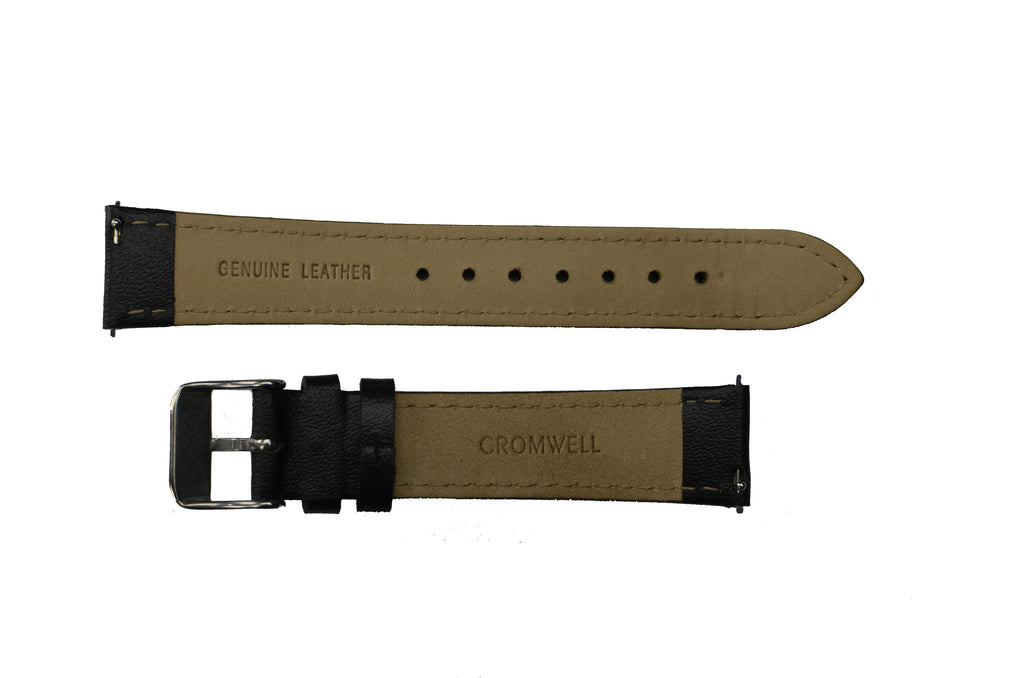 Black Watch Band w/Silver Buckle 18mm (For 36mm and 38mm watch cases) - Cromwell Watch Company