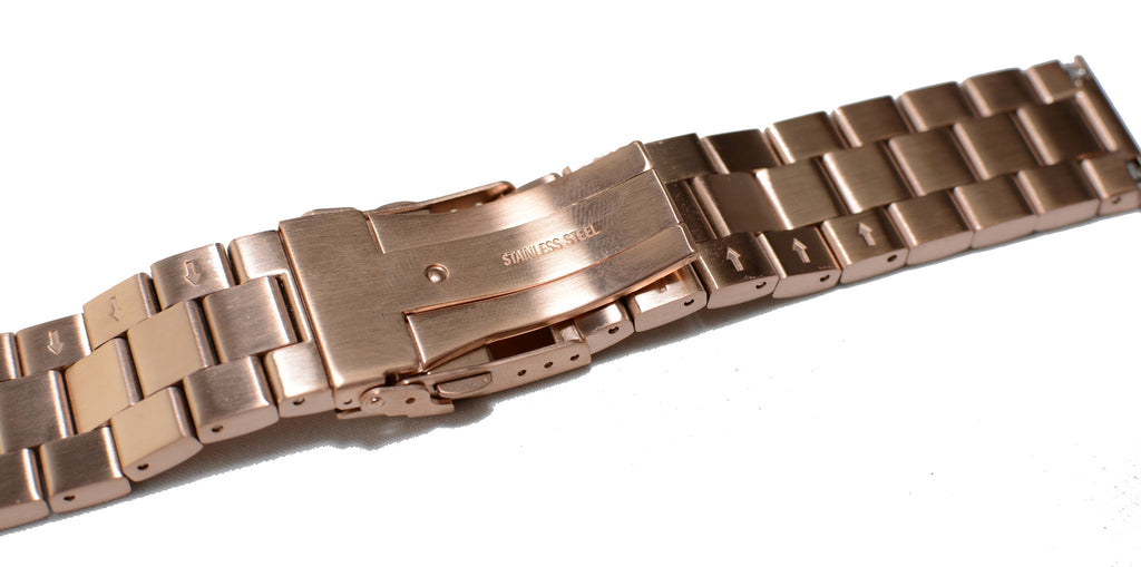 Watch Band- 22mm Rose Gold Stainless Steel (For 44mm and 48mm watch cases) - Cromwell Watch Company