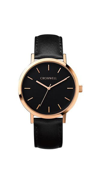 "38mm ""Del Mar"" - Rose Gold Case with Black Face - Cromwell Watch Company"