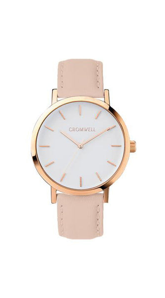 "38mm ""Laguna"" - Rose Gold Case with White Face - Cromwell Watch Company"
