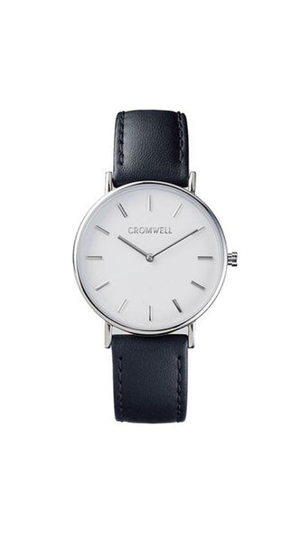 "36mm ""Coronado"" - Silver Case with White Face - Cromwell Watch Company"
