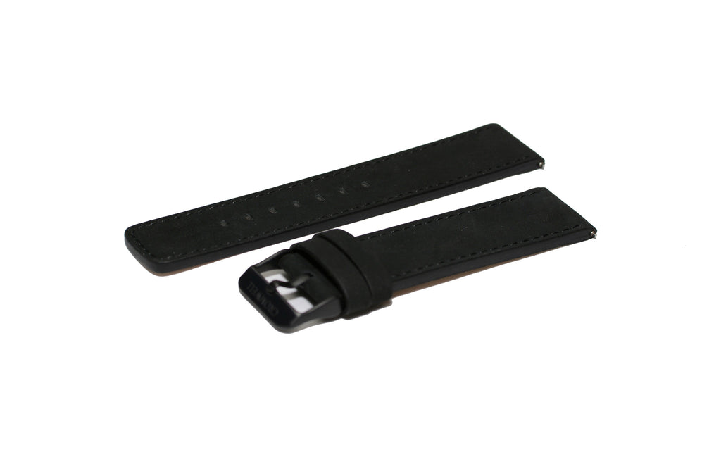 Watch Band- 22mm Matte Black w/black buckle (For 44mm and 48mm watch cases)