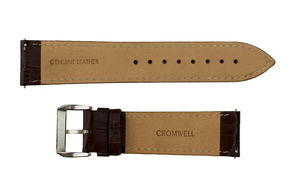 Watch Band- 22mm Dark Brown Crocodile w/silver buckle (For 44mm and 48mm watch cases)