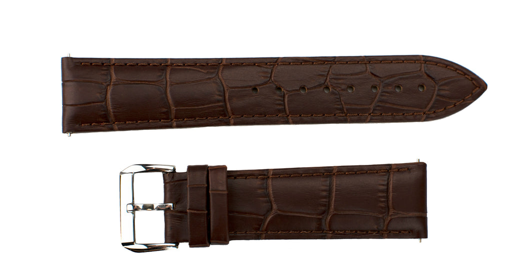 Watch Band- 22mm Dark Brown Crocodile w/Silver Round Buckle (For 44mm and 48mm watch cases) - Cromwell Watch Company