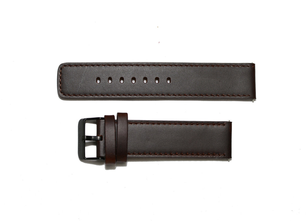 Watch Band- 22mm Dark Brown Square Edges w/Black Buckle (For 44mm and 48mm watch cases) - Cromwell Watch Company