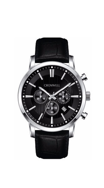 44mm Silver Case Chronograph with Black Face