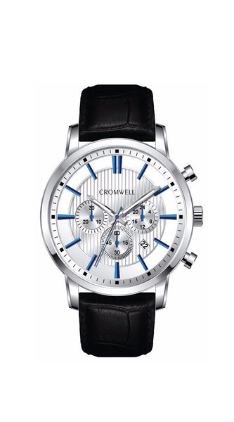 "44mm ""Belmont"" - Silver Case Chronograph with White Face, Blue Digits - Cromwell Watch Company"