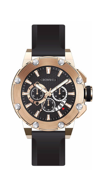 "48mm ""Santa Monica"" - Rose Gold Chronograph with Black Face - Cromwell Watch Company"