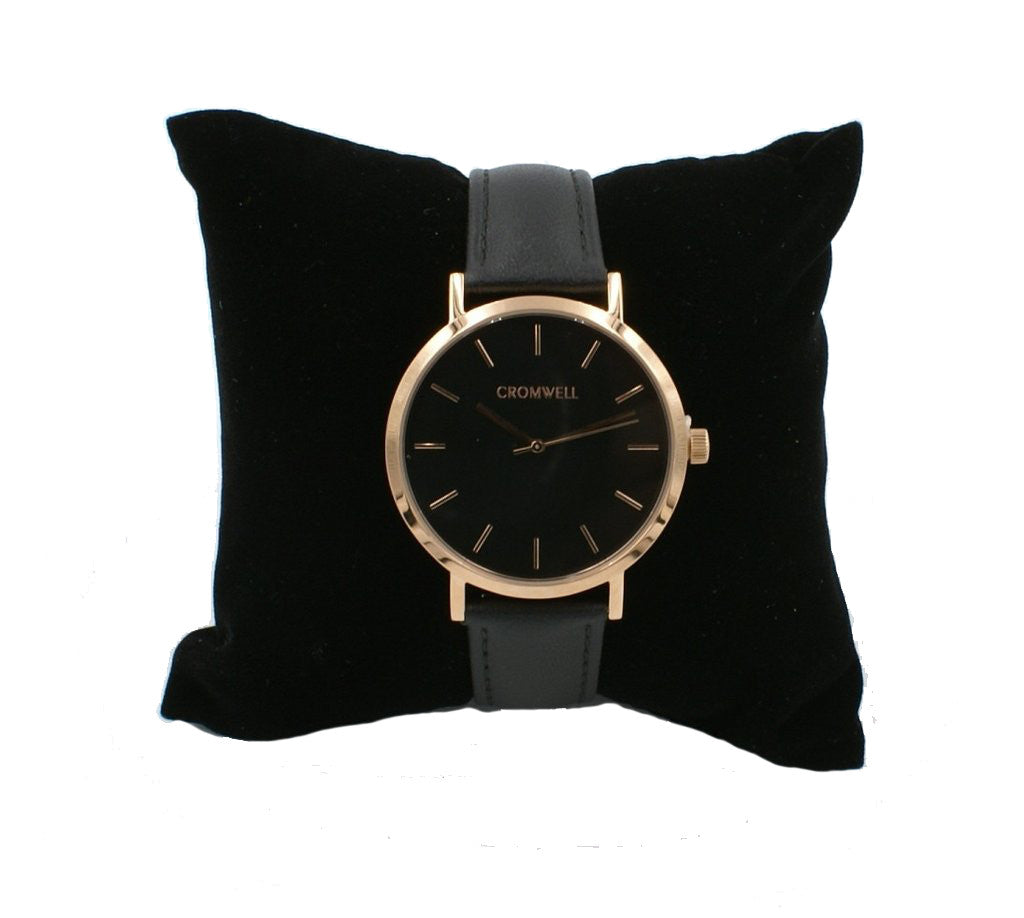 "38mm ""Del Mar"" - Rose Gold Case with Black Face"
