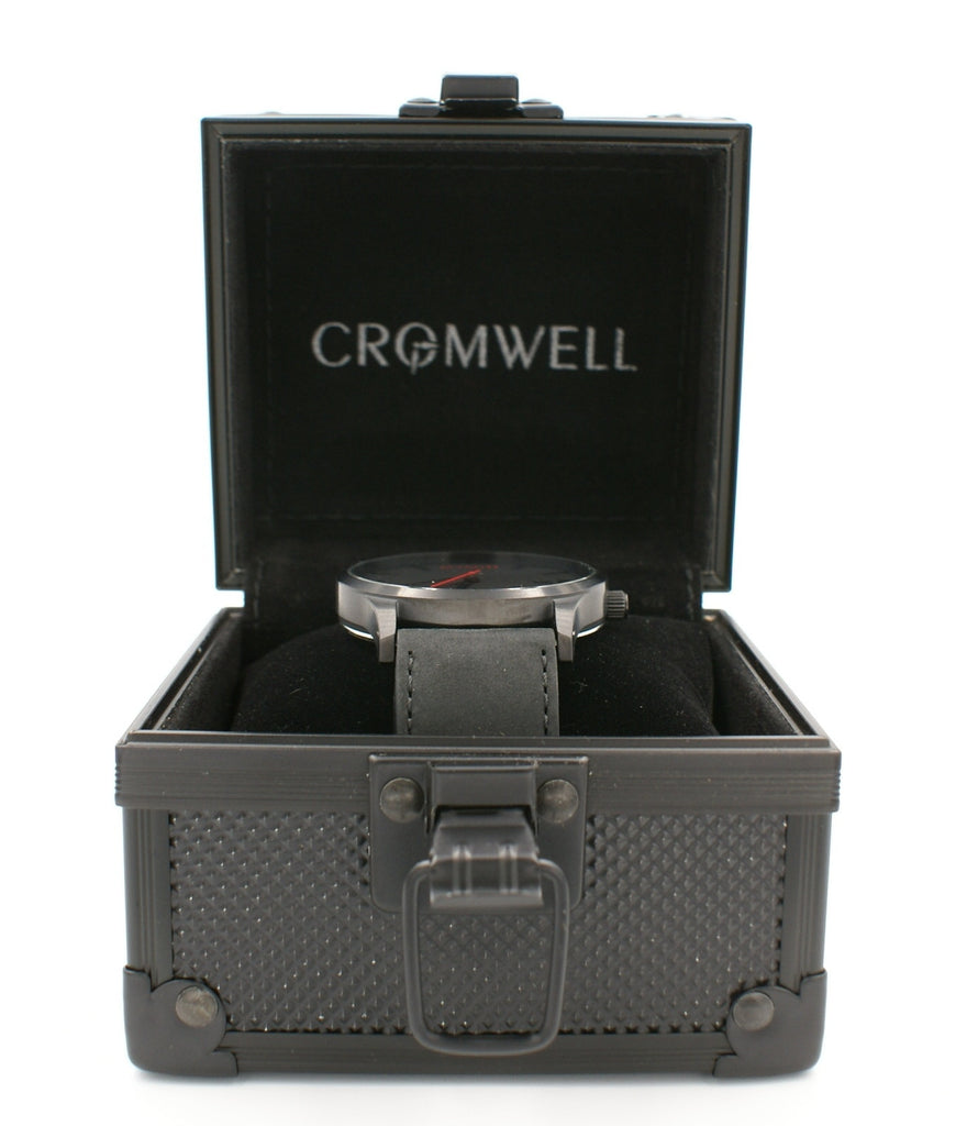"44mm ""Limited 44"" - Black on Black with Date Function - Cromwell Watch Company"