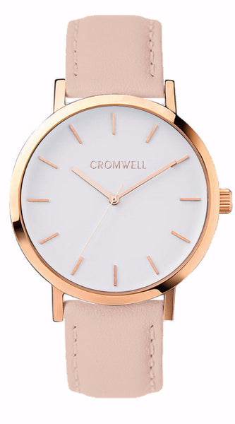 Rose Gold Case with White Face and Genuine Nude Leather 38mm