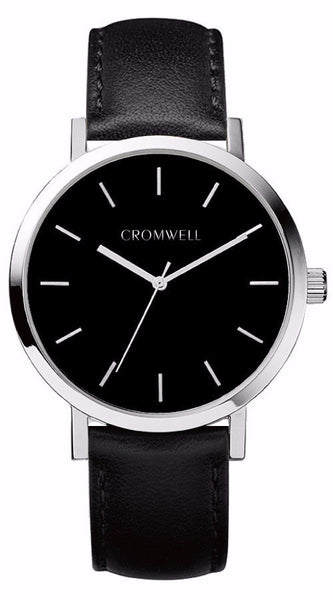Silver Case with Black Face and Genuine Black Leather Band 38mm