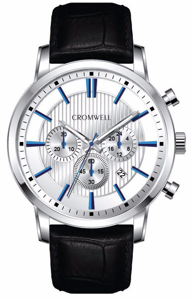 Silver Case Chronograph with White Face, Blue Digits and Black Crocodile Style Leather Band 44mm