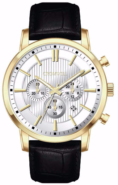 Gold Case Chronograph with White Face and Crocodile Style Leather Band 44mm