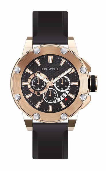 48mm Rose Gold Chronograph with Black Face