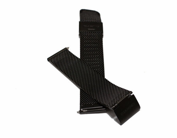 Womens Black Mesh Watch Band with Quick Tabs