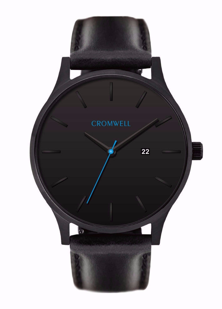 "44mm ""Huntington"" - Black on Black With Blue Hand - Cromwell Watch Company"