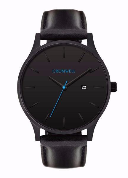 Black on Black With Blue Second Hand and Date Function- 44mm