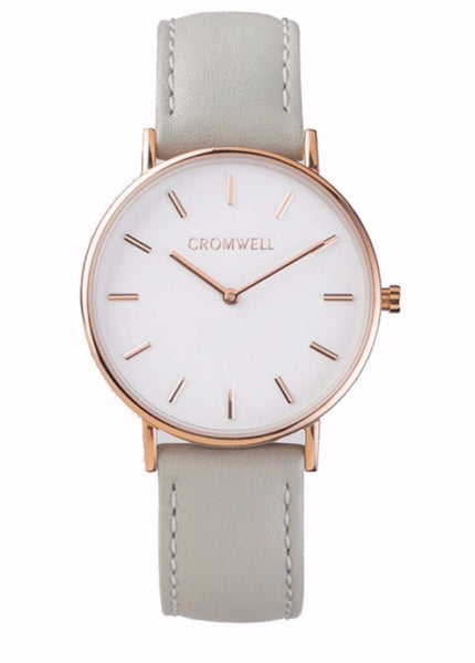 Rose Gold Case with White Face and Dove Grey Leather Band 36mm