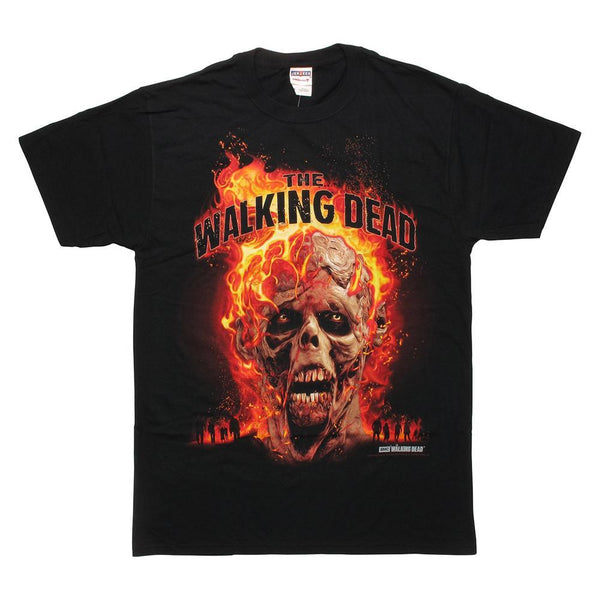 The Walking Dead Burning Walker Head Adult T-Shirt