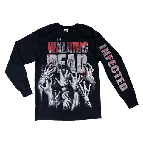 The Walking Dead Infected Hands Reaching Adult Long Sleeve Tee