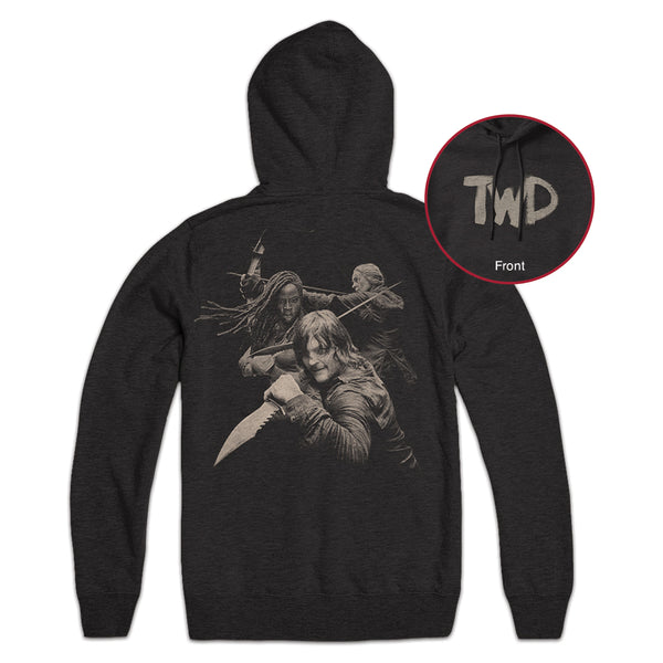 Daryl, Michonne, and Carol Duotone Hoodie with TWD Logo