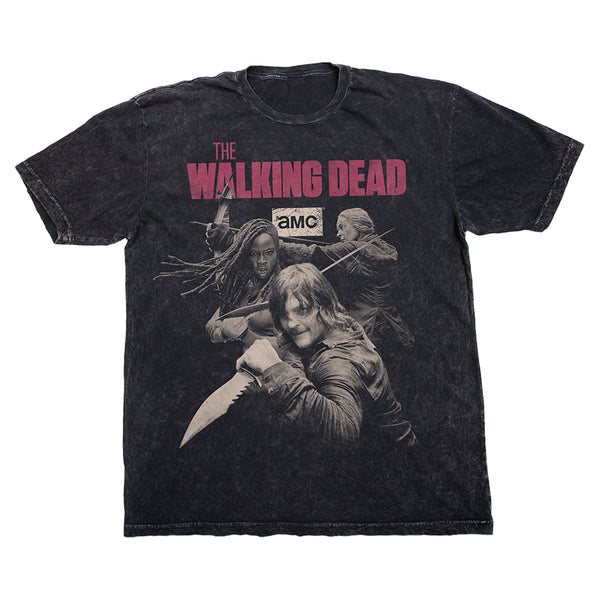 Season 10 Daryl, Michonne, and Carol Black Tee with The Walking Dead Logo