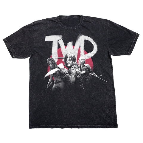 The Walking Dead Character Distressed Black Tee