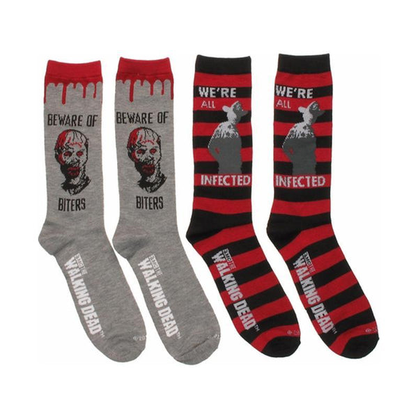 The Walking Dead Unisex We're All Infected 2 Pair Crew Socks