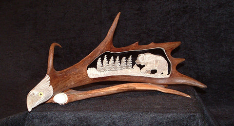 Moose and Caribou Carved Antlers