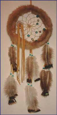 8 Inch  Mink Fur Dream Catcher
