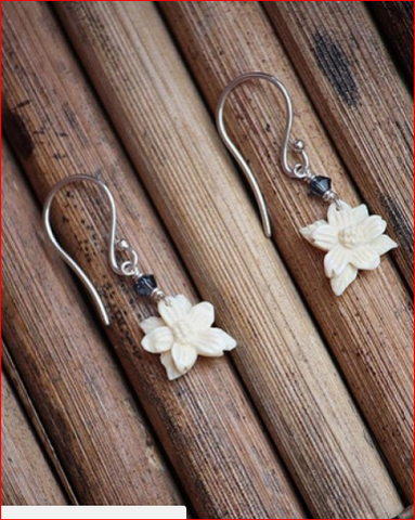 Dog Wood Mammoth Ivory Earrings